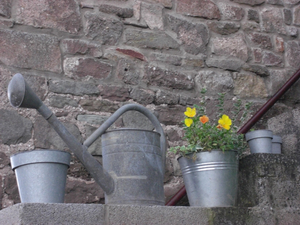 Watering Can and Pots Outside